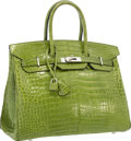 "Luxury Accessories:Bags, Hermes 35cm Shiny Pelouse Porosus Crocodile Birkin Bag withPalladium Hardware. Very Good to Excellent Condition .14""..."