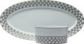 Luxury Accessories:Home, Hermes Gray & White Fil d'Argent Limoges Porcelain Serving Bowland Platter Set. Very Good to Excellent Condition. Ser...(Total: 2 Items)