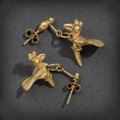 Pre-Columbian:Metal/Gold, A PAIR OF COLIMA GOLD EARRINGS... (Total: 2 Items)