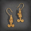 Pre-Columbian:Metal/Gold, A PAIR OF COLIMA GOLD EARRINGS ... (Total: 2 Items)