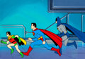 Animation Art:Production Cel, Super Friends Superman, Batman, and Robin Production Cel andPainted Background Setup (Hanna-Barbera, c. 1970-80s).... (Total: 4Original Art)