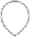 Estate Jewelry:Necklaces, Diamond, Platinum Necklace, Cartier. ...