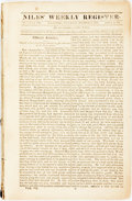 Books:Periodicals, [Periodicals]. Issues from Niles' Weekly Register, VolumeVII. Baltimore: H. Niles, 1814-1815. Bound together in...