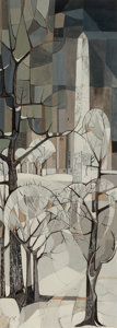 Texas:Early Texas Art - Modernists, GEORGE GRAMMER (American, b. 1928). Cleopatra's Needle, CentralPark, New York, 1952. Gouache on paper. 30 x 11 inches (...