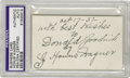 "Autographs:Others, 1932 Honus Wagner Signed ""Wagner-Traynor Co."" Business Card. Theboldest inscription and signature imaginable from the Dead..."