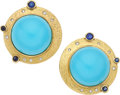 Estate Jewelry:Earrings, Turquoise, Sapphire, Diamond, Gold Earrings, Silverhorn. ...