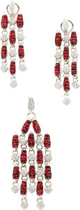 Estate Jewelry:Suites, Ruby, Diamond, White Gold Jewelry Suite, Chirico. ... (Total: 2Items)