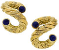 Estate Jewelry:Earrings, Lapis Lazuli, Gold Earrings. ...