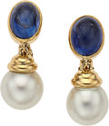 Estate Jewelry:Earrings, Sapphire, Cultured Pearl, Gold Earrings. ...
