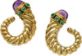 Estate Jewelry:Earrings, Amethyst, Emerald, Gold Earrings, David Yurman. ...