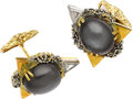 Estate Jewelry:Cufflinks, Moonstone, Diamond, Gold Cuff Links, Charles de Temple. ...