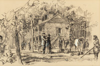 """EDWARD MUEGGE """"BUCK"""" SCHIWETZ (American, 1898-1984) Reunion at Nacodoches, 1957 Grease pencil and go"""