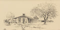 "Texas:Early Texas Art - Drawings & Prints, EDWARD MUEGGE ""BUCK"" SCHIWETZ (American, 1898-1984). King RanchCamp House #2. Pencil on paper. 8-1/2 x 16-1/2 inches (2..."