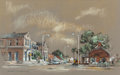"Texas:Early Texas Art - Drawings & Prints, EDWARD MUEGGE ""BUCK"" SCHIWETZ (American, 1898-1984). Souvenir ofRio Grande City, 1952. Gouache and pastel on paper. 13-..."