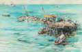"Texas:Early Texas Art - Modernists, EDWARD MUEGGE ""BUCK"" SCHIWETZ (American, 1898-1984). OffshorePlatform, 1963. Mixed media on paper. 16 x 25 inches (40.6..."
