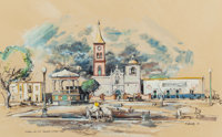 """EDWARD MUEGGE """"BUCK"""" SCHIWETZ (American, 1898-1984) Morning on the Square, Mier Mexico, 1952 Mixed m"""