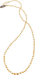 Estate Jewelry:Necklaces, Natural Pearl, Diamond, Ruby, Platinum-Topped Gold Necklace. ...