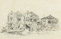 """Works on Paper, EDWARD MUEGGE """"BUCK"""" SCHIWETZ (American, 1898-1984). The Bishops Castle, Galveston and Avenue L and 18th Streets, Galv... (Total: 2 Items)"""