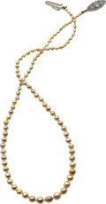Estate Jewelry:Necklaces, Natural Pearl, Diamond, Platinum-Topped Gold Necklace. ...