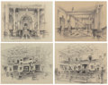 "Texas:Early Texas Art - Modernists, EDWARD MUEGGE ""BUCK"" SCHIWETZ (American, 1898-1984). The TexasState Capitol, Austin (four works), 1956. Pencil on paper..."