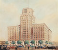"Texas:Early Texas Art - Modernists, EDWARD MUEGGE ""BUCK"" SCHIWETZ (American, 1898-1984). HumbleTowers, 1938. Watercolor on paper. 17-1/2 x 20-1/2 inches (4..."
