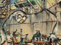 "Texas:Early Texas Art - Modernists, EDWARD MUEGGE ""BUCK"" SCHIWETZ (American, 1898-1984). Workers onTanker. Mixed media on board. 11-3/4 x 15-3/4 inches (29..."
