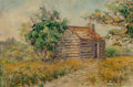 Texas:Early Texas Art - Impressionists, BIRD JONES (American, 1865-1944). First Public School in Texas,near Gay Hill. Oil on canvas laid on board. 12 x 18 inch...