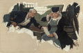 Mainstream Illustration, RICO TOMASO (American, 1898-1985). The Plate. Oil on canvas.26 x 40 in.. Initialed lower right. ...
