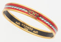 """Luxury Accessories:Accessories, Hermes 70mm Red Enamel Bangle Bracelet with Gold Hardware. VeryGood to Excellent Condition. 2.75"""" Diameter. ..."""
