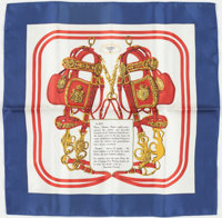 "Hermes 40cm Red, White & Blue ""Brides de Gala,"" by Hugo Grygkar Silk Pochette Scarf Excellent Condition"