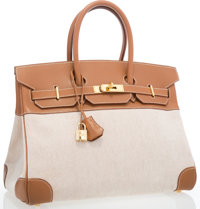Hermes 35cm Gold Courchevel Leather & Toile Birkin Bag with Gold Hardware Good to Very Good Condition