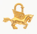 "Luxury Accessories:Accessories, Hermes Gold Pegasus Cadena Charm Lock. Very Good Condition.1.25"" Width x 1.25"" Height. ..."