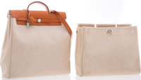 "Hermes Vache Naturelle & Toile Herbag GM Bag with Palladium Hardware Very Good Condition 15"" Widt"