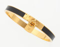 "Luxury Accessories:Accessories, Hermes Black Epsom Leather Kelly Cadena Bracelet with GoldHardware. Excellent Condition. .25"" Width x 2.5""Diameter..."