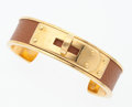 "Luxury Accessories:Accessories, Hermes Gold Courchevel Leather Kelly Cuff Bracelet with GoldHardware. Good Condition. .5"" Width x 2"" Diameter...."