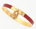 "Luxury Accessories:Accessories, Hermes Rouge Vif Chevre Leather Kelly Cadena Bracelet with GoldHardware. Excellent Condition. .25"" Width x 2.5""Diame..."