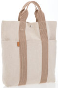 """Luxury Accessories:Bags, Hermes Beige Canvas & Toile Fourre Cabas Tote Bag withPalladium Hardware. Excellent Condition. 12"""" Width x 14""""Height..."""
