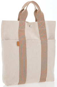 """Hermes Beige Canvas & Toile Fourre Cabas Tote Bag with Palladium Hardware Excellent Condition 12"""""""