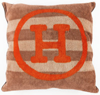 "Hermes Brown & Orange Terrycloth Hermes a Voyage Outdoor Pillow Very Good Condition 26"" Width x 2"