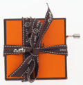 """Luxury Accessories:Home, Hermes Orange Holiday Music Box . Very Good to ExcellentCondition. 3"""" Width x 3"""" Length x 1.5"""" Height. ..."""