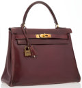"""Luxury Accessories:Bags, Hermes 28cm Rouge H Calf Box Leather Retourne Kelly Bag with GoldHardware . Good Condition . 12"""" Width x 8"""" Height x..."""