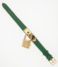 """Hermes Gold Kelly Watch with Vert Bengale Courchevel Leather Strap Very Good Condition .5"""" Width"""