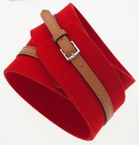 "Hermes 80cm Gold Swift Leather & Red Wool Belt with Palladium Hardware Very Good Condition 2.5"" W"