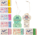 Baseball Collectibles:Tickets, 1955 Brooklyn Dodgers vs. New York Yankees World Series TicketsStubs Full Run of Seven & Two Press Passes....