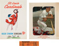 Baseball Collectibles:Tickets, 1963 Stan Musial Final Game Full Ticket, Scorecard & StadiumGiveaway Photograph....