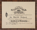 Football Collectibles:Others, 1915 Johnny Blood McNally Middle School Diploma....