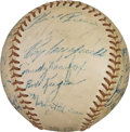 Baseball Collectibles:Balls, 1956-57 Brooklyn Dodgers Team Signed Baseball with Extras. ...