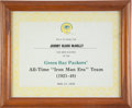 """Football Collectibles:Others, 1976 Johnny Blood McNally Green Bay Packers """"All-Time 'Iron Man Era' Team"""" Presentational Award...."""