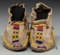 American Indian Art:Beadwork and Quillwork, A PAIR OF CHEYENNE CHILD'S BEADED HIDE MOCCASINS ... (Total: 2Items)
