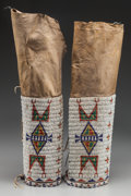 American Indian Art:Beadwork and Quillwork, A PAIR OF SIOUX WOMAN'S BEADED HIDE LEGGINGS. c. 1890... (Total: 2)